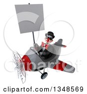 Clipart Of A 3d White And Black Clown Aviator Pilot Wearing Sunglasses Holding A Blank Sign And Flying An Airplane To The Left Royalty Free Illustration by Julos