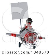 Clipart Of A 3d White And Black Clown Aviator Pilot Wearing Sunglasses Holding A Blank Sign And Flying An Airplane Royalty Free Illustration by Julos