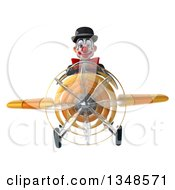 Clipart Of A 3d White And Black Clown Aviator Pilot Flying A Yellow Airplane Royalty Free Illustration