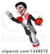 Clipart Of A 3d White And Black Clown Holding A Strawberry And Flying Royalty Free Illustration