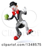 Clipart Of A 3d White And Black Clown Holding A Green Bell Pepper And Jumping Royalty Free Illustration