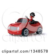 Clipart Of A 3d White And Black Clown Wearing Sunglasses Giving A Thumb Down And Driving A Red Convertible Car To The Left Royalty Free Illustration