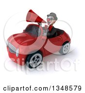 Clipart Of A 3d White And Black Clown Wearing Sunglasses Using A Megaphone And Driving A Red Convertible Car To The Left Royalty Free Illustration