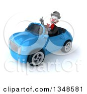 Clipart Of A 3d White And Black Clown Giving A Thumb Up And Driving A Blue Convertible Car To The Left Royalty Free Illustration