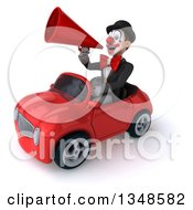 Clipart Of A 3d White And Black Clown Using A Megaphone And Driving A Red Convertible Car To The Left Royalty Free Illustration