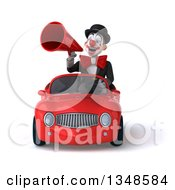 Clipart Of A 3d White And Black Clown Using A Megaphone And Driving A Red Convertible Car Royalty Free Illustration