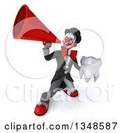 Clipart Of A 3d White And Black Clown Holding A Tooth And Using A Megaphone Royalty Free Illustration