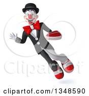 Clipart Of A 3d White And Black Clown Holding A Beef Steak Waving And Flying Royalty Free Illustration