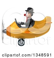 Clipart Of A 3d White And Black Clown Aviator Pilot Flying A Yellow Airplane To The Left Royalty Free Illustration by Julos