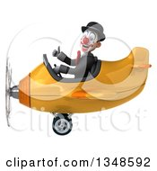Clipart Of A 3d White And Black Clown Aviator Pilot Giving A Thumb Up And Flying A Yellow Airplane To The Left Royalty Free Illustration by Julos