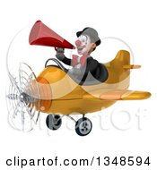 Clipart Of A 3d White And Black Clown Aviator Pilot Using A Megaphone And Flying A Yellow Airplane To The Left Royalty Free Illustration