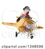 Clipart Of A 3d White And Black Clown Aviator Pilot Flying A Yellow Airplane Royalty Free Illustration by Julos