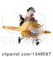 Clipart Of A 3d White And Black Clown Aviator Pilot Giving A Thumb Down And Flying A Yellow Airplane Royalty Free Illustration by Julos