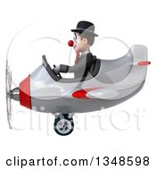 Clipart Of A 3d White And Black Clown Aviator Pilot Flying An Airplane To The Left Royalty Free Illustration by Julos