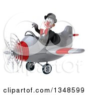 Clipart Of A 3d White And Black Clown Aviator Pilot Giving A Thumb Down And Flying An Airplane To The Left Royalty Free Illustration by Julos