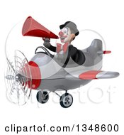 Clipart Of A 3d White And Black Clown Aviator Pilot Using A Megaphone And Flying An Airplane To The Left Royalty Free Illustration