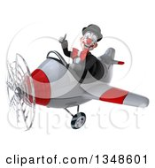 Clipart Of A 3d White And Black Clown Aviator Pilot Giving A Thumb Up And Flying An Airplane To The Left Royalty Free Illustration by Julos