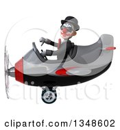 Clipart Of A 3d White And Black Clown Aviator Pilot Wearing Sunglasses Giving A Thumb Down And Flying An Airplane To The Left Royalty Free Illustration by Julos