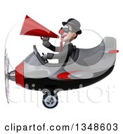 Clipart Of A 3d White And Black Clown Aviator Pilot Wearing Sunglasses Using A Megaphone And Flying An Airplane To The Left Royalty Free Illustration