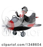 Clipart Of A 3d White And Black Clown Aviator Pilot Wearing Sunglasses Giving A Thumb Up And Flying An Airplane To The Left Royalty Free Illustration by Julos