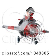 Clipart Of A 3d White And Black Clown Aviator Pilot Wearing Sunglasses And Flying An Airplane Royalty Free Illustration by Julos