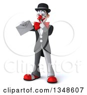 Clipart Of A 3d White And Black Clown Holding An Envelope And Thinking Royalty Free Illustration by Julos
