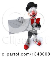 Clipart Of A 3d White And Black Clown Holding Up An Envelope Royalty Free Illustration by Julos