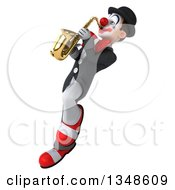Clipart Of A 3d White And Black Clown Playing A Saxophone And Flying Royalty Free Illustration by Julos