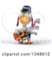 Clipart Of A 3d White Police Chicken Playing A Guitar Royalty Free Illustration by Julos