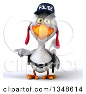 Clipart Of A 3d White Police Chicken Pointing Royalty Free Illustration by Julos