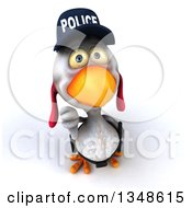 Clipart Of A 3d White Police Chicken Holding Up A Thumb Down Royalty Free Illustration by Julos