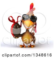 Clipart Of A 3d Brown Chicken Wearing Sunglasses And Holding A Chocolate Easter Egg Royalty Free Illustration