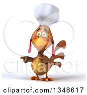 Clipart Of A 3d Brown Chef Chicken Pointing To The Left Royalty Free Illustration