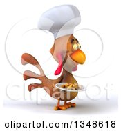 Poster, Art Print Of 3d Brown Chef Chicken Holding A Plate Of French Fries And Facing Right