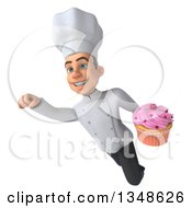 Clipart Of A 3d Young White Male Chef Holding A Cupcake And Flying Royalty Free Illustration