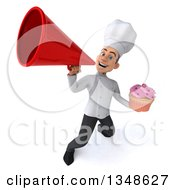 Clipart Of A 3d Young White Male Chef Holding A Cupcake And Using A Megaphone Royalty Free Illustration