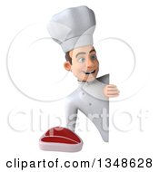 Clipart Of A 3d Young White Male Chef Holding A Beef Steak Around A Sign Royalty Free Illustration