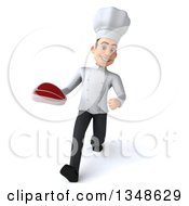 Clipart Of A 3d Young White Male Chef Holding A Beef Steak And Speed Walking Royalty Free Illustration