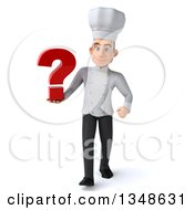 Clipart Of A 3d Young White Male Chef Holding A Question Mark And Walking Royalty Free Illustration