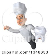 Clipart Of A 3d Young White Male Chef Holding A Tooth And Flying Royalty Free Illustration