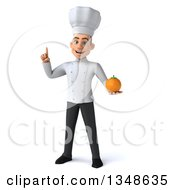 Clipart Of A 3d Young White Male Chef Holding Up A Finger And A Navel Orange Royalty Free Illustration