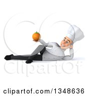 Clipart Of A 3d Young White Male Chef Holding A Navel Orange And Resting On His Side Royalty Free Illustration