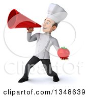 Clipart Of A 3d Young White Male Chef Holding A Tomato And Announcing With A Megaphone Royalty Free Illustration