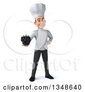 Clipart Of A 3d Young White Male Chef Holding A Blackberry Royalty Free Illustration