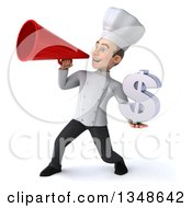 Clipart Of A 3d Young White Male Chef Holding A Dollar Currency Symbol And Announcing With A Megaphone Royalty Free Illustration