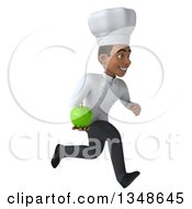 Clipart Of A 3d Young Black Male Chef Holding A Green Apple And Sprinting To The Right Royalty Free Illustration