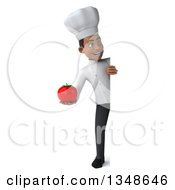 Clipart Of A 3d Full Length Young Black Male Chef Holding A Tomato Around A Sign Royalty Free Illustration