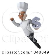 Clipart Of A 3d Young Black Male Chef Holding A Dollar Symbol And Flying Royalty Free Illustration