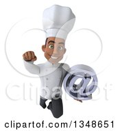 Clipart Of A 3d Young Black Male Chef Holding An Email Arobase At Symbol And Flying Royalty Free Illustration