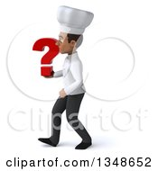 Clipart Of A 3d Young Black Male Chef Holding A Question Mark And Walking To The Left Royalty Free Illustration